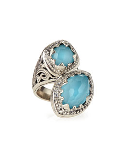 Konstantino Turquoise & Rock Crystal Doublet Bypass Ring
