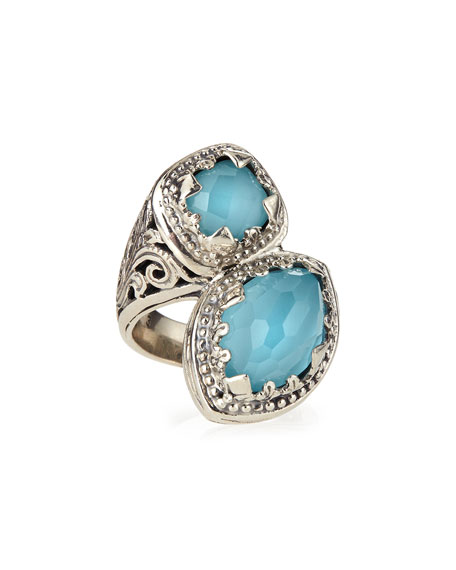 Turquoise & Rock Crystal Doublet Bypass Ring