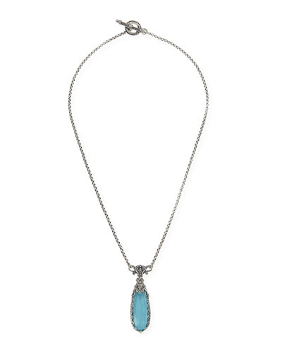 Konstantino Turquoise & Rock Crystal Doublet Pendant Necklace
