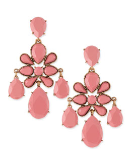 Oscar de la Renta Faceted Chandelier Clip-On Earrings, Pink