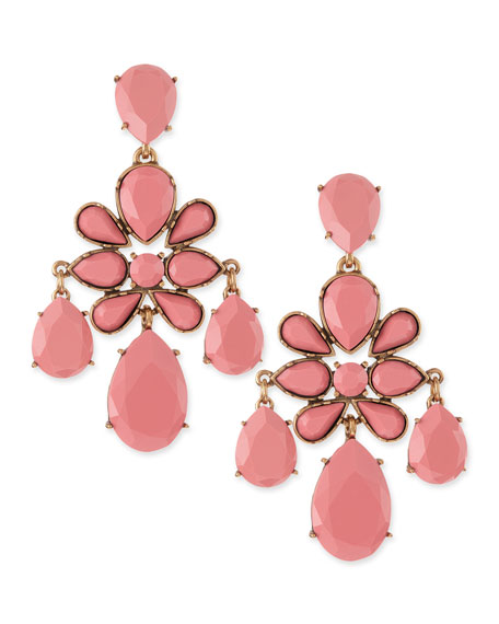 Faceted Chandelier Clip-On Earrings, Pink