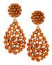 Faceted Chandelier Clip-On Earrings, Orange