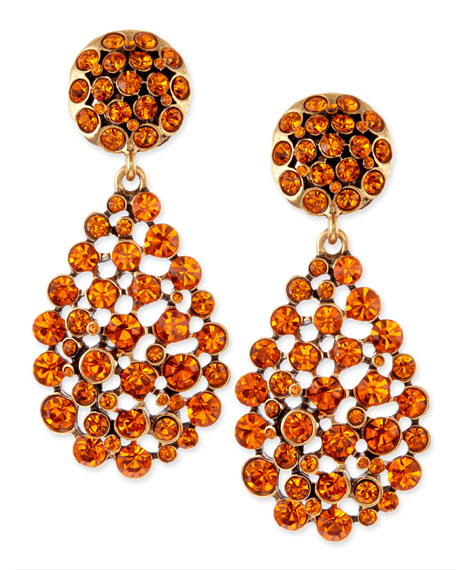 Faceted Chandelier Clip-On Earrings, Orange