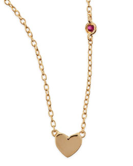 SHY by Sydney Evan Heart Bezel-Ruby Pendant Necklace