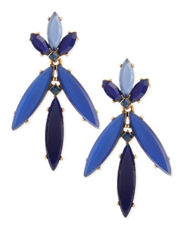 Oscar de la Renta Marquise Resin Drop Clip-On Earrings, Lapis Blue
