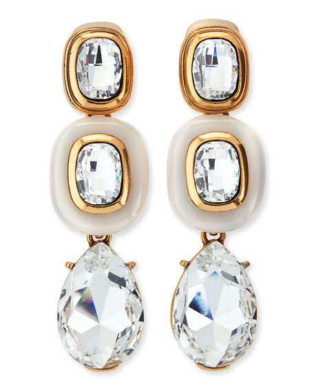 Resin & Crystal Clip-On Earrings, White