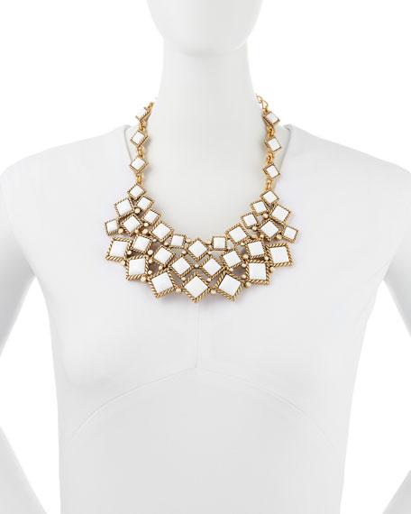 Square Resin Cabochon Bib Necklace, White