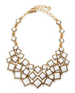 Oscar de la Renta Square Resin Cabochon Bib Necklace, White