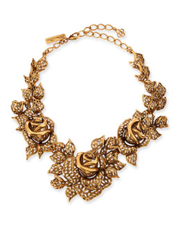 Oscar de la Renta Carved Golden Rose Necklace