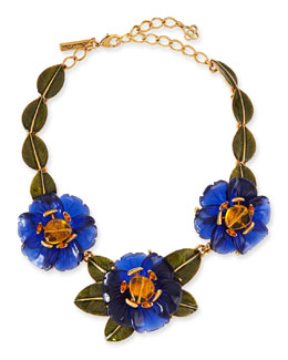Oscar de la Renta Resin Peony Flower Necklace