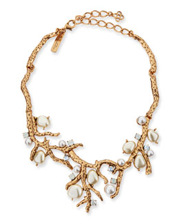Oscar de la Renta Pearl-Beaded Coral Necklace