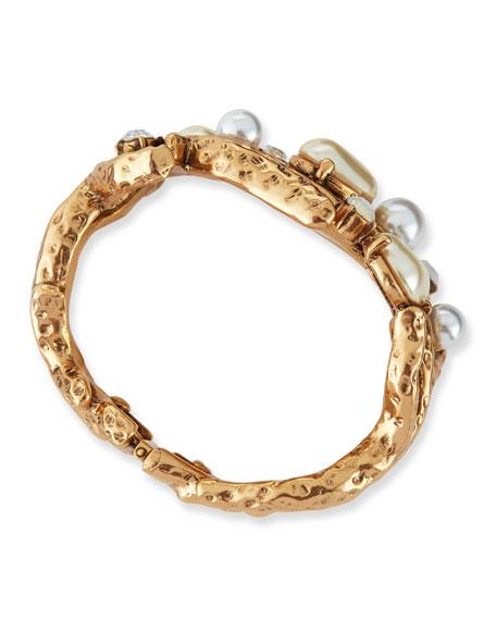 Pearl-Beaded Coral Bracelet