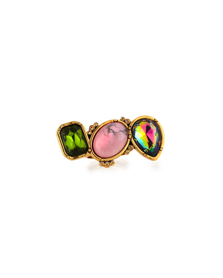 3-Crystal Ring, Green/Pink