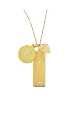 Sarah Chloe 14k Gold Plated Cari 3-Pendant Necklace with Initial, Multi-Name Tag & Heart Charm