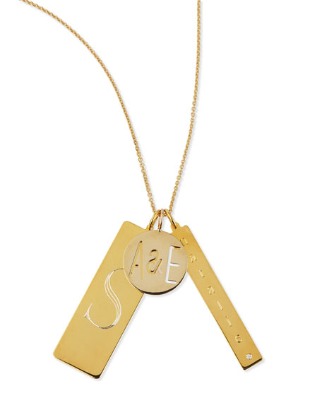 14k Gold Plated Edie 3-Pendant Necklace with Personalized Monogram, Initial & Name