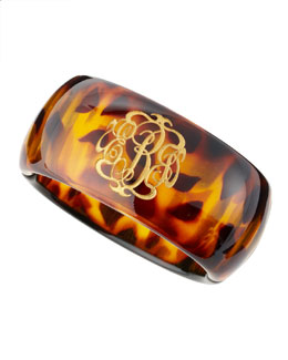 Moon and Lola Tortoise Acrylic Script Monogram Bangle