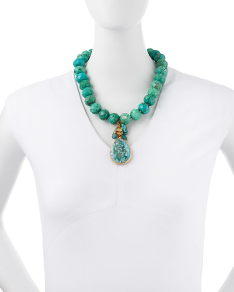 Turquoise Facet-Beaded and Teardrop Necklace