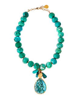 Devon Leigh Turquoise Facet-Beaded and Teardrop Necklace