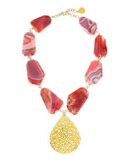 Devon Leigh Porous Gold Plated Teardrop & Pink Agate Necklace