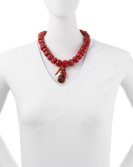 Coral & Jasper Beaded Cluster Necklace
