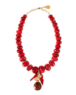 Devon Leigh Coral & Jasper Beaded Cluster Necklace
