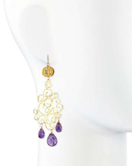 18k Gold Plate Amethyst Drop Earrings