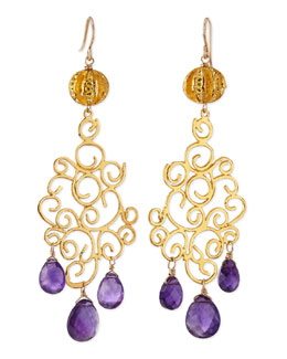 Devon Leigh 18k Gold Plate Amethyst Drop Earrings