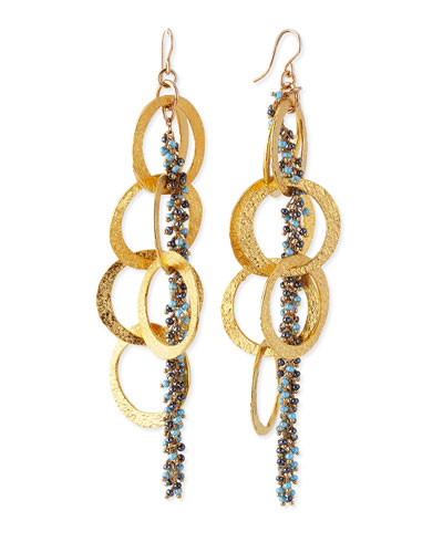 Devon Leigh Beaded 18k Yellow Gold Plated Linked Circle Drop Earrings