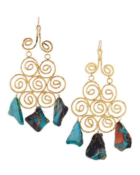 18k- Plated African Opal 3-Stone Drop Earrings