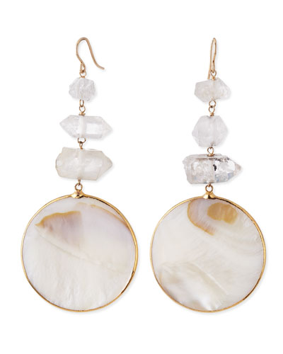 Devon Leigh Mother-of-Pearl Circle Drop Earrings