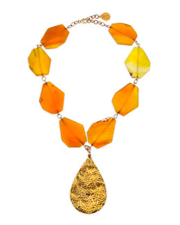 Devon Leigh Hammered Gold Plated Teardrop & Yellow Agate Necklace
