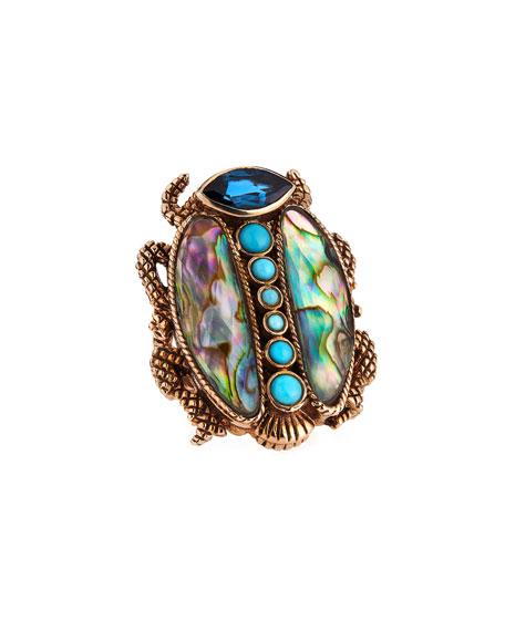 Large Multi-Stone Scarab Ring, Blue