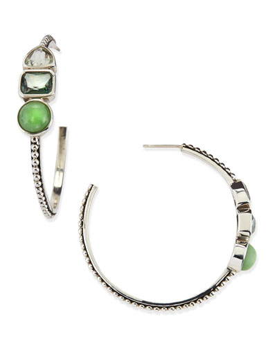 Sterling Silver Green 3-Stone Hoop Earrings