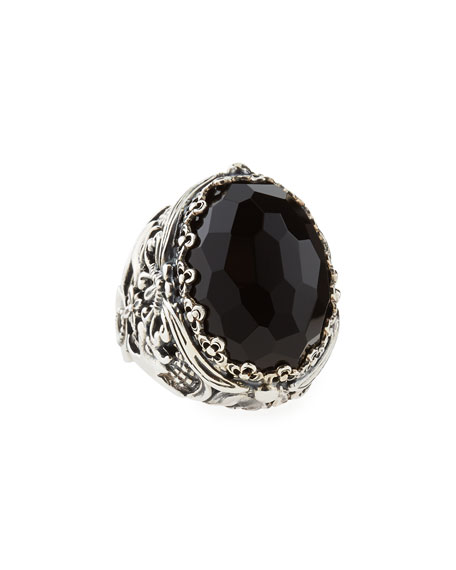 Oval Black Onyx Open Filigree Ring