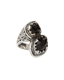 Konstantino Black Onyx Bypass Filigree Ring