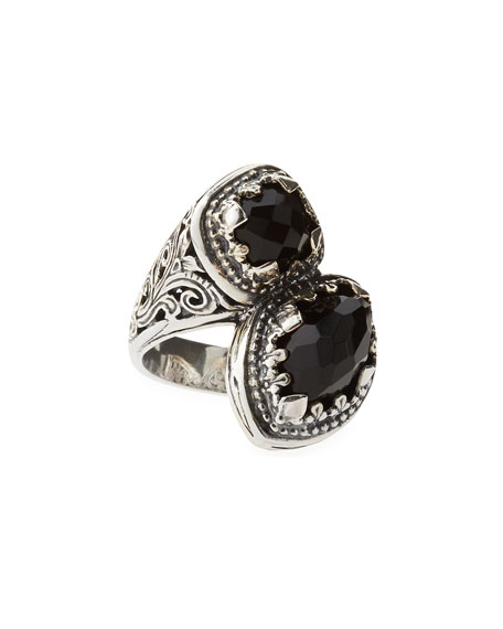 Black Onyx Bypass Filigree Ring
