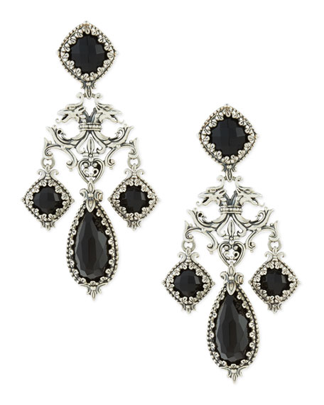 BLACK ORNATE EARRING