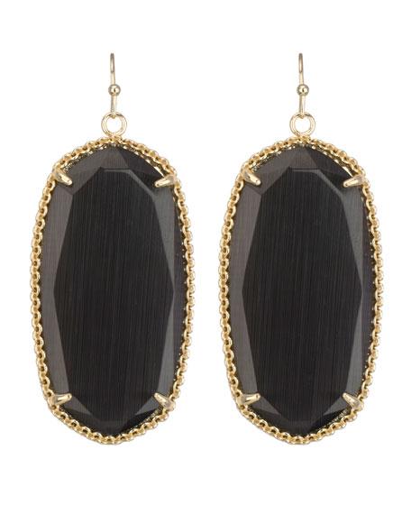 Deily Drop Earrings, Black Cat's Eye