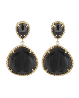 Kendra Scott Penny Post Earrings, Black Cat's Eye