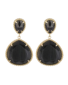 Kendra Scott Penny Clip-On Earrings, Black Cat's Eye