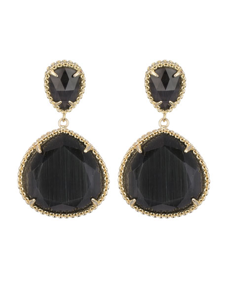 Penny Clip-On Earrings, Black Cat's Eye