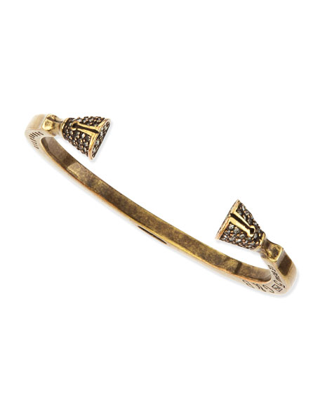 Pave Crystal Skinny Hoof Cuff, Antique Brass