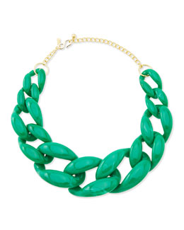 Kenneth Jay Lane Green Link Necklace