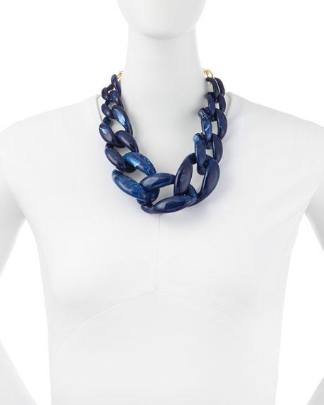 Marbled Enamel Link Necklace, Lapis Blue