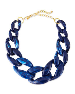 Kenneth Jay Lane Marbled Enamel Link Necklace, Lapis Blue