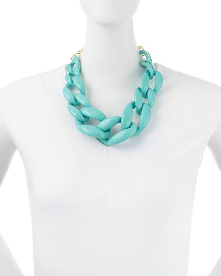 Enamel Link Necklace, Turquoise