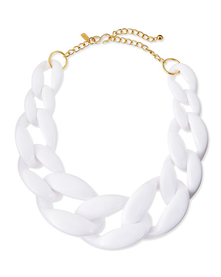 Enamel Link Necklace, White