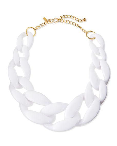 Enamel Link Necklace, White