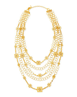 Jose & Maria Barrera 24k Yellow Gold Plated Medallion Ornament Multi-Strand Necklace