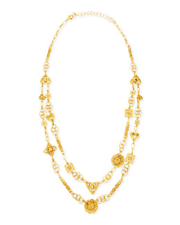Jose & Maria Barrera 24k Yellow Gold Plated Medallion Ornament Long Necklace